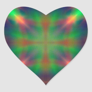 Soft Rainbow Lights X Shaped Abstract Design Heart Sticker