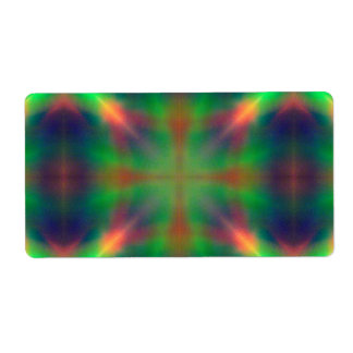Soft Rainbow Lights X Shaped Abstract Design Label