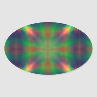 Soft Rainbow Lights X Shaped Abstract Design Oval Sticker