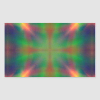 Soft Rainbow Lights X Shaped Abstract Design Rectangular Sticker