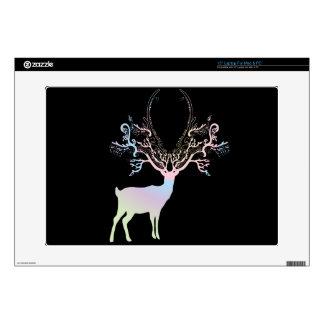 "Soft Rainbow Pastel Color Silhouette Deer 15"" Laptop Decal"