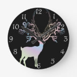 Soft Rainbow Pastel Color Silhouette Deer Round Clocks