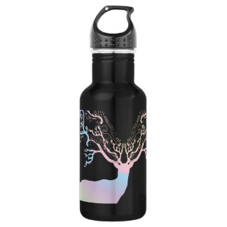 Soft Rainbow Pastel Color Silhouette Deer 18oz Water Bottle