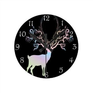 Soft Rainbow Pastel Color Silhouette Deer Round Clock
