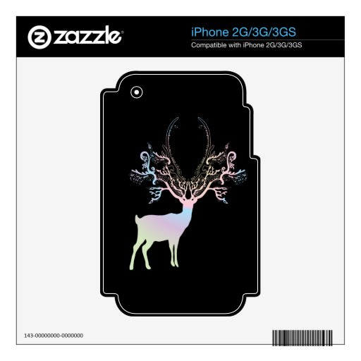 Soft Rainbow Pastel Color Silhouette Deer iPhone 3GS Skins