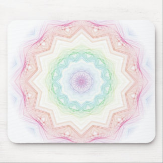 Soft Rainbow Spirograph Mouse Pad