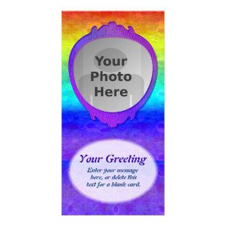 Soft Rainbow Vertical PhotoCard Template Customized Photo Card