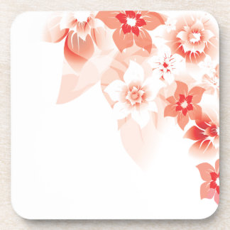 Soft Red Flowers - Cork Coaster - 1