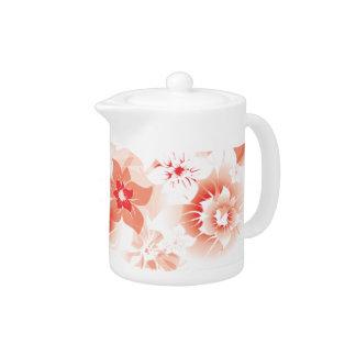 Soft Red Flowers - Tea Pot - 1