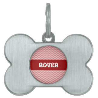 Soft red pink zigzag pattern pet tag