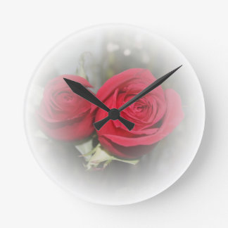 Soft Red Roses in White Wall Clock