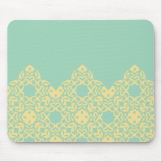 Soft, Retro Yellow Lace Against Pale Teal Mouse Pad