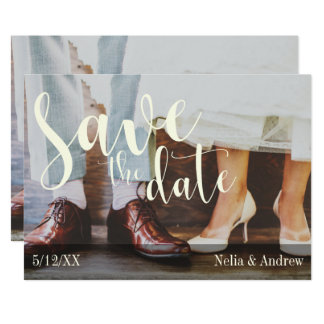 Soft Romantic Photo Typography 30 Save the Date 2 Card