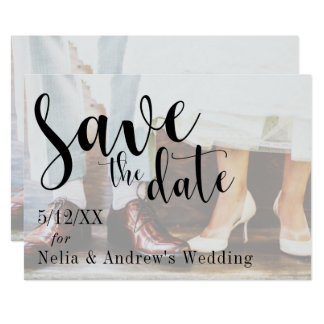 Soft Romantic Photo Typography 30 Save the Date Card