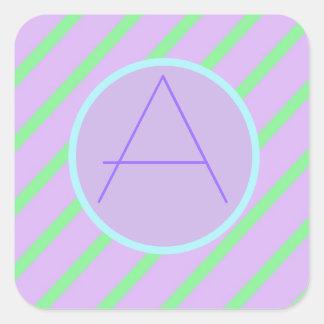 Soft Romantic Stripes Monogrammed 'A'SqaureSticker Square Sticker
