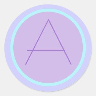 Soft RomanticLavender Monogrammed A Round Sticker