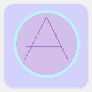 Soft RomanticLavender Monogrammed 'A'SqaureSticker Square Sticker