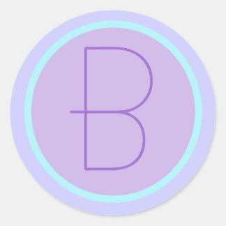 Soft RomanticLavender Monogrammed B Round Sticker