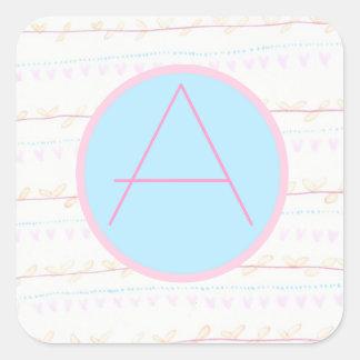 Soft RomanticWhimsicalMonogrammed 'A'SqaureSticker Sticker