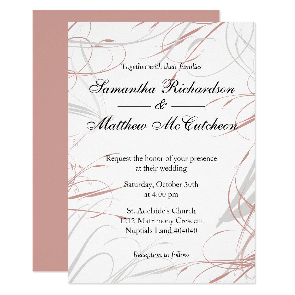 Soft Rose and Grey Flourishes Wedding Invitation