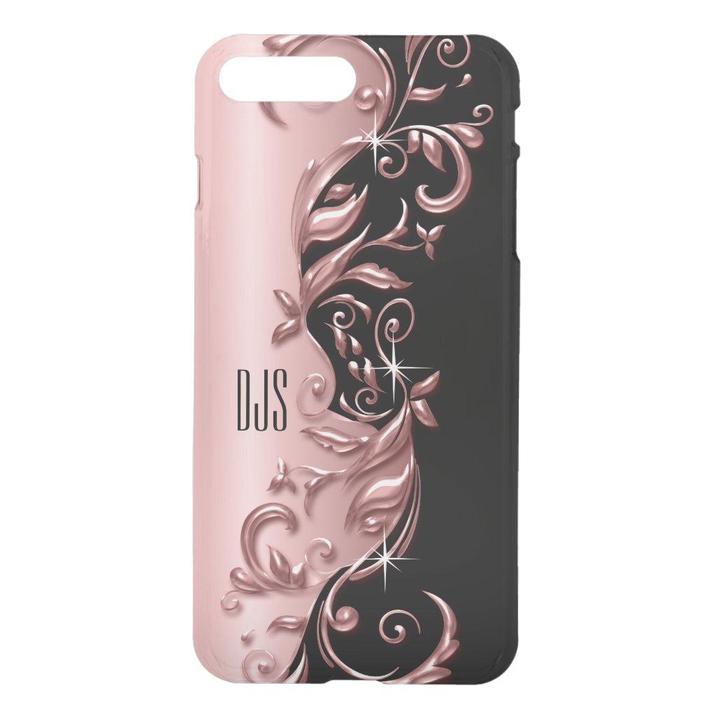 Soft Rose Gold Ornate Design | Monogram iPhone 8 Plus/7 Plus Case