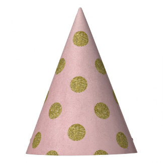 Soft Rose Pink Gold Glitter Glam Polka Dots Party Party Hat