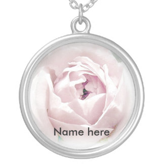 Soft Rose Round Pendant Necklace