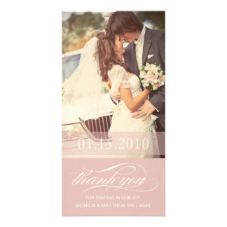 SOFT ROSE SCRIPT THANKS   WEDDING THANK YOU CARD PHOTO CARD