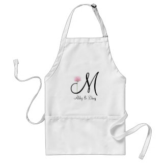 Soft rose with monogram adult apron