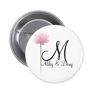 Soft rose with monogram 2 inch round button