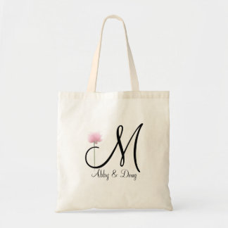 Soft rose with monogram tote bag