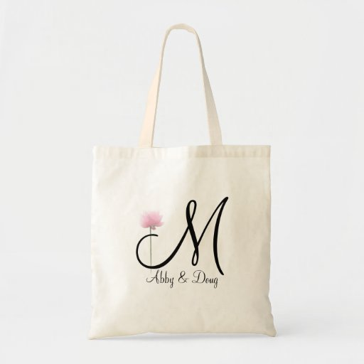 Soft rose with monogram tote bag