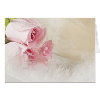 Soft roses and feathers card