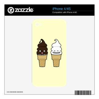 Soft Serve Ice Cream Cone wafer chocolate vanilla iPhone 4 Decals
