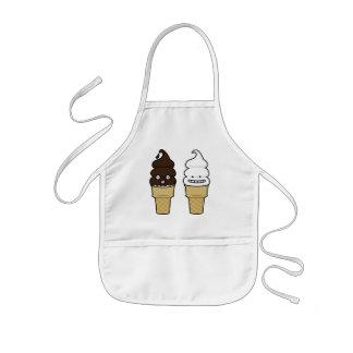 Soft Serve Ice Cream Cone wafer chocolate vanilla Kids' Apron