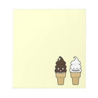 Soft Serve Ice Cream Cone wafer chocolate vanilla Notepad