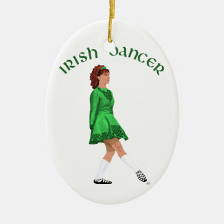 Soft Shoe Irish Dancer in Green Double-Sided Oval Ceramic Christmas Ornament