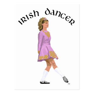 Soft Shoe Irish Dancer in Pink Postcard
