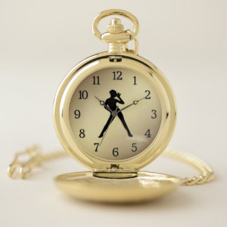 Soft Shoe / Tap Dancer with Black Numbers Gold Pocket Watch