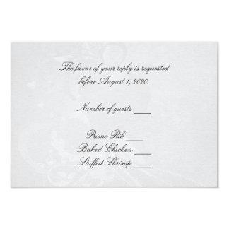 Soft Silver Heart RSVP Card