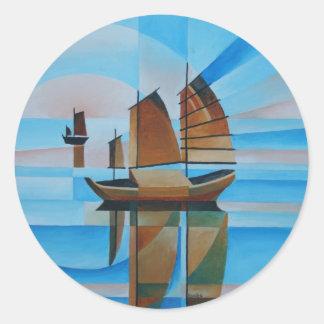 Soft Skies, Cerulean Seas and Cubist Junks Classic Round Sticker