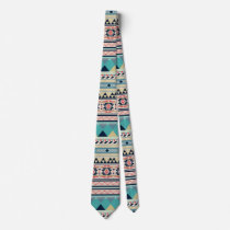 Soft Southwest Tribal Pattern Pink Turquoise Gold Tie