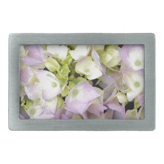 Soft Spring Hydrangea Blossoms Pink Lavender Green Rectangular Belt Buckle