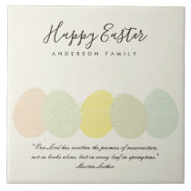 SOFT SUBTLE PASTEL EASTER EGGS PERSONALIZED GIFT CERAMIC TILE