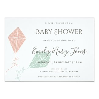 SOFT SUBTLE PINK BLUE KITE BABY SHOWER CARD