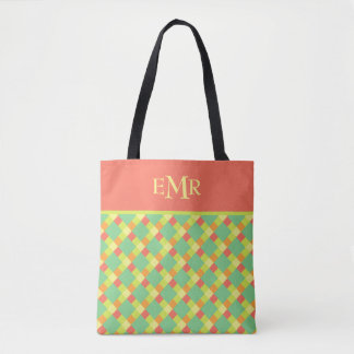 Soft Summer Tile Stripes Monogram Tote Bag