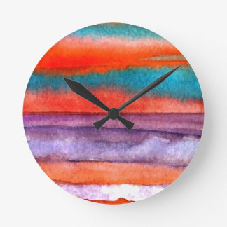 Soft Sun Play Beach Sunset Ocean Waves Art Round Clock