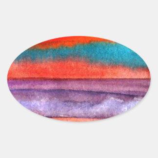 Soft Sun Play Beach Sunset Ocean Waves Art Sticker