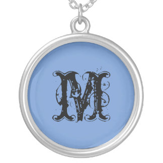 Soft Sweet Blue Monogram with Black Initial Silver Plated Necklace