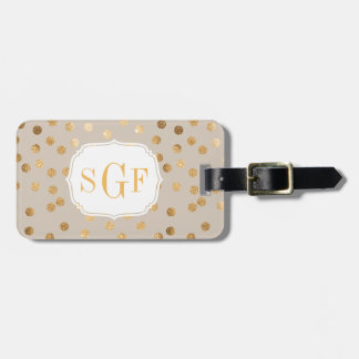 Soft Tan and Gold Glitter City Dots Monogram Bag Tag